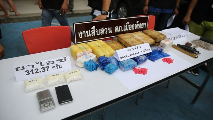 Pattaya police seized 80,000 methamphetamine tablets and another million baht in property from two alleged drug dealers operating out of Pattaya.