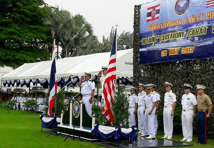 Rear Admiral Donald D. Gabrielson, Commander of the Logistics Group Western Pacific, and Deputy Chief of the Royal Thai Fleet Rear Admiral Somnuk Prempramote jointly presided over the opening ceremony of CARAT 2017 at the Royal Thai Fleet in Sattahip
