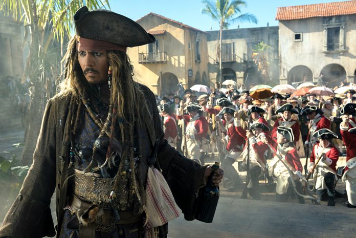 "Johnny Depp portrays Jack Sparrow in a scene from ""Pirates of the Caribbean: Dead Men Tell No Tales."" (Peter Mountain/Disney via AP)"