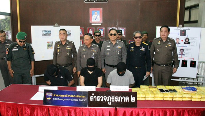Regional police arrested four people and seized nearly 250,000 methamphetamine tablets in Chachoengsao.