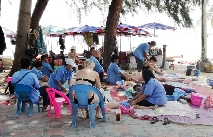 Jomtien Beach masseuses were tested for drugs while getting updated on Pattaya's latest regulations.