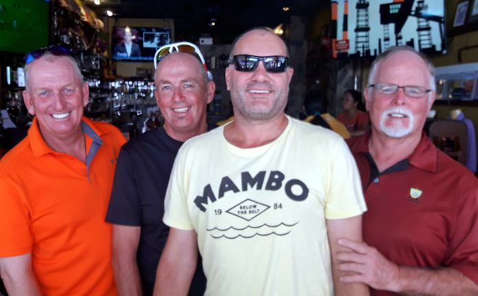 Ian, Phil, Stuart and Dave après-golf back home at TGC.