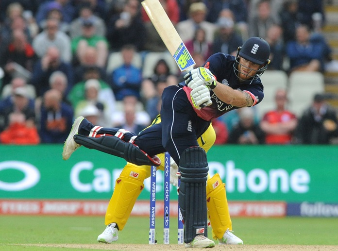 England's Ben Stokes plays a shot during the ICC Champions Trophy match against Australia at Edgbaston in Birmingham, England, Saturday, June 10. (AP Photo/Rui Vieira)