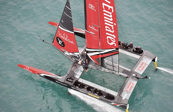 Emirates Team New Zealand competes on the second day of the best-of-nine America's Cup challenger finals on Bermuda's Great Sound, Sunday, June 11. (Ricardo Pinto/America's Cup Event Authority via AP)