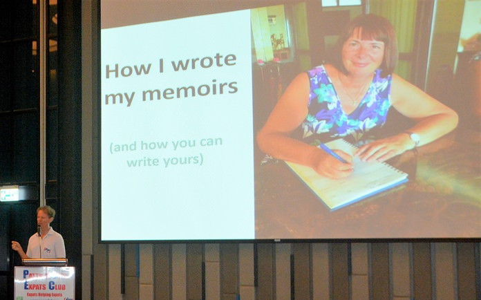 """Member Ren Lexander mentions the review he previously wrote about Rosey Bensley's memoir, """"It's Not All Rosey"""" as he introduces her to her PCEC audience."""