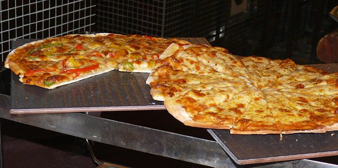 Hot pizza waiting for you.