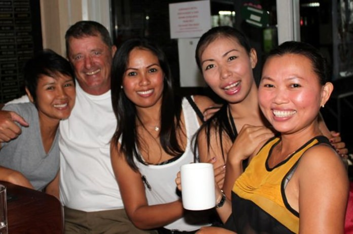 Don 'the Ladies man' Lehmer (2nd left) with friends.