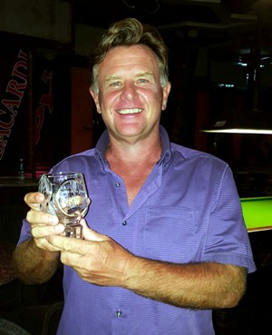 Colin Greig with his Golfer of the Month trophy.