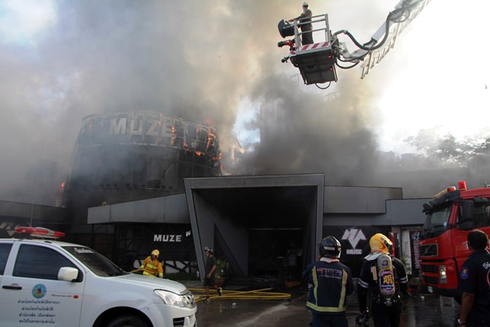 Sparks from a welding torch are being blamed for the fire that destroyed the popular Muze disco in North Pattaya.