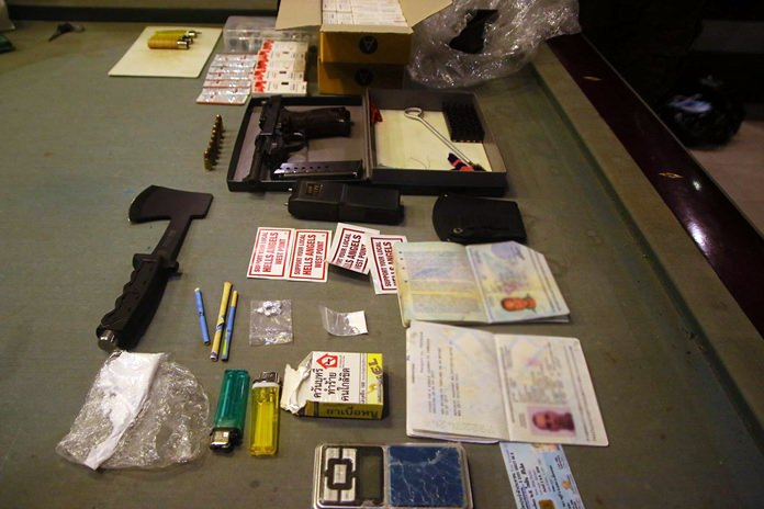 Nine people were arrested at a newly opened Mabprachan Lake resort when police raided a birthday party and found heroin and a gun.