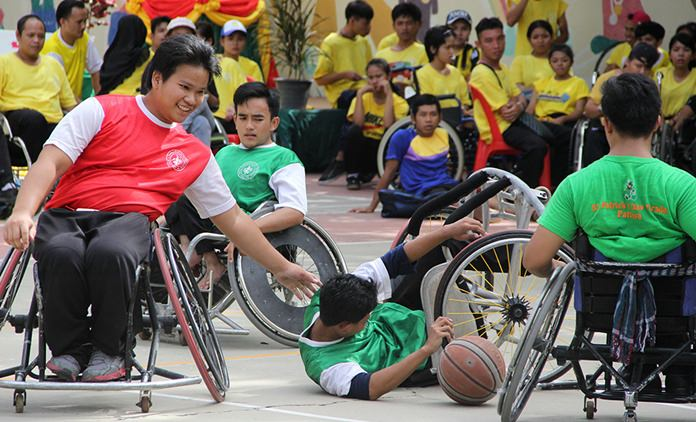 Wheelchair basketball - a tough game.