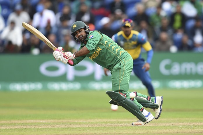 Pakistan's Sarfraz Ahmed hits out during the ICC Champions Trophy Group B cricket match against Sri Lanka at Sophia Gardens in Cardiff, Wales, Monday June 12. (Joe Giddens/PA via AP)