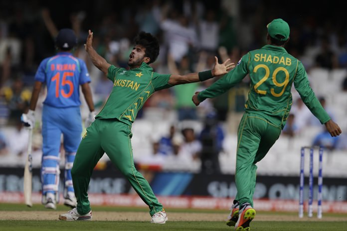 Pakistan bowler Hassan Ali celebrates the dismissal of India's Ravichandran Ashwin during the ICC Champions Trophy final at The Oval in London, Sunday, June 18. (AP Photo/Alastair Grant)