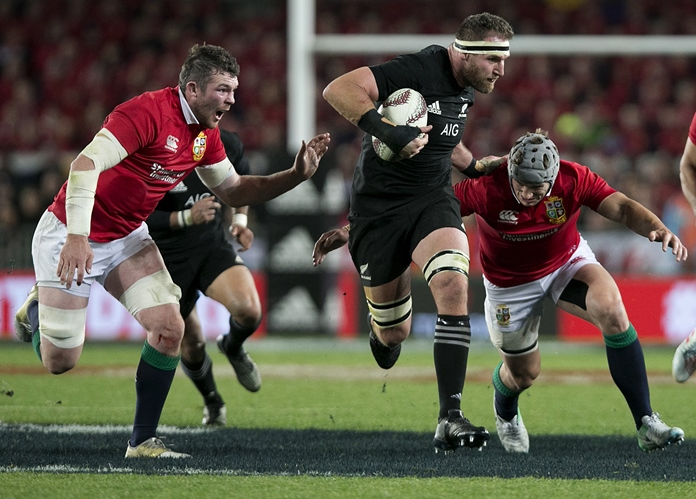 New Zealand captain Kieran Read makes a break during the first test between the British and Irish Lions and the All Blacks at Eden Park in Auckland, New Zealand, Saturday, June 24. (Alan Gibson/New Zealand Herald via AP)