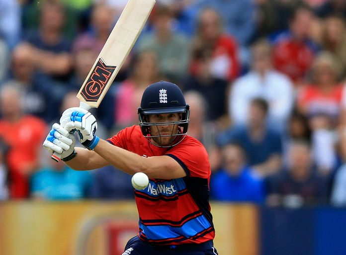 England's Dawid Malan plays a shot during the T20 match against South Africa at the SSE Swalec stadium in Cardiff, Sunday June 25. (Nigel French/PA via AP)