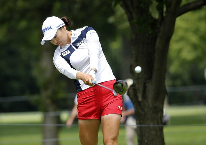 So Yeon Ryu of South Korea hits a tee shot during a practice round for the 2017 Women's PGA Championship golf tournament at the Olympia Fields Country Club Wednesday, June 28, in Olympia Fields, Ill. (AP Photo/Charles Rex Arbogast)