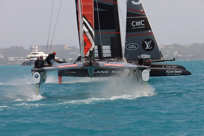 Great Britain's Land Rover BAR and Emirates Team New Zealand compete during America's Cup challenger semifinals on the Great Sound in Bermuda on Thursday, June 8. (Gilles Martin-Raget/ACEA via AP)