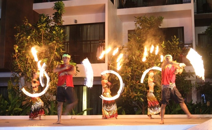 Thai Destination performs a thrilling Fire dance show.
