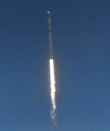 A SpaceX Falcon 9 rocket carrying a set of Iridium communications satellites heads skyward. (AP Photo/Richard Vogel)