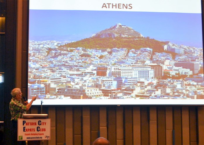 Desmond Bishop showed many pictures of place he has lived or visited pointing out their interesting characteristics. However, Athens he said was not what he expected; instead of ancient temples, Athens, was mostly full of block style buildings with no real eye appeal.