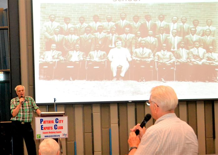 Desmond Bishop responds to a PCEC member during the question and answer session of his presentation.