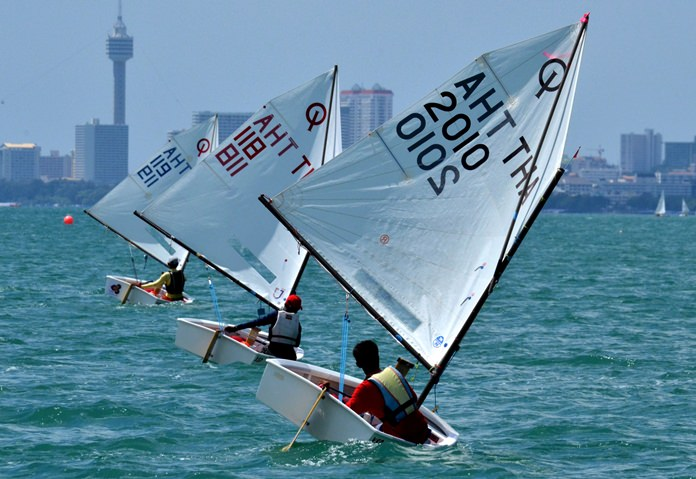 The warm waters off Royal Varuna Yacht Club in Pattaya provide an ideal location for international sailing events such as the Optimist World Championships.