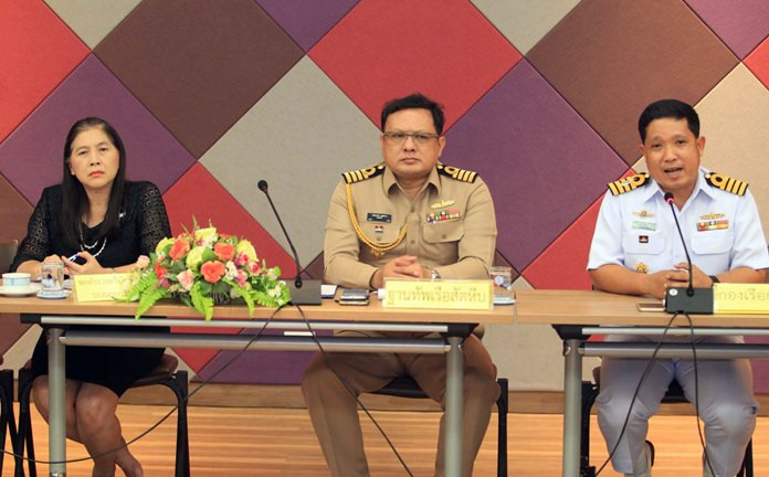 Capt. Prapat Chutkhao, director of operations and information at the Sattahip Naval Base, and Capt. Sinsamut Panja, operations director for the Battle Squadron, met with police, army, Pattaya City Hall and Marine Department officials to mull security plans for November's international fleet show.