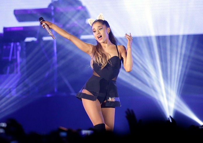 U.S. pop singer Ariana Grande is shown performing in this Aug. 26, 2015 file photo. (AP Photo/Achmad Ibrahim)