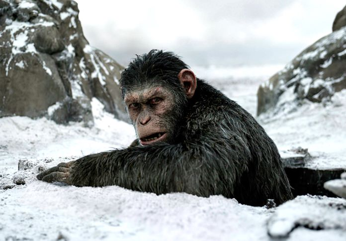 "This image shows a scene from ""War for the Planet of the Apes."" (Twentieth Century Fox via AP)"