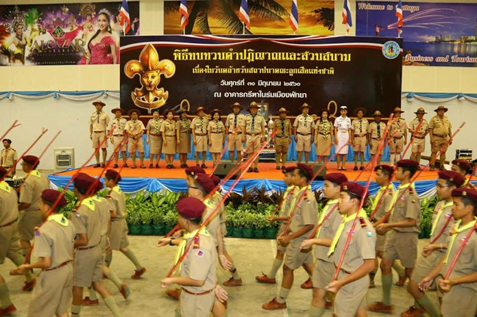 Nearly 1,000 boy and girl scouts came together in Pattaya to celebrate the 104rd anniversary of the founding of the Boy Scouts in Thailand.