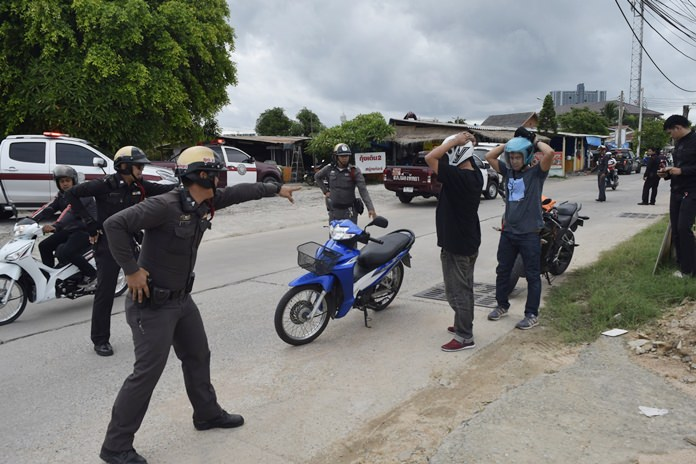 Pattaya police practice their response to snatch robberies in hopes of catching more of the thieves on motorbikes in the act.