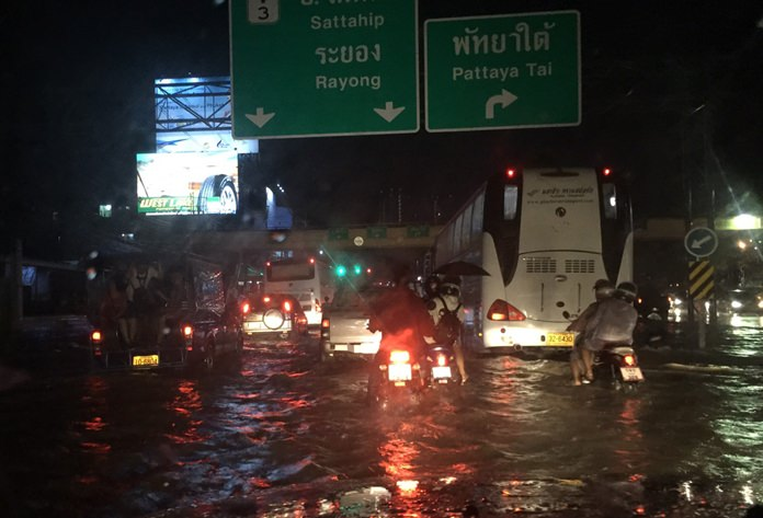Three hours of late night rain prompted another nightmare for Pattaya commuters, as seen here on Sukhumvit Road in South Pattaya.