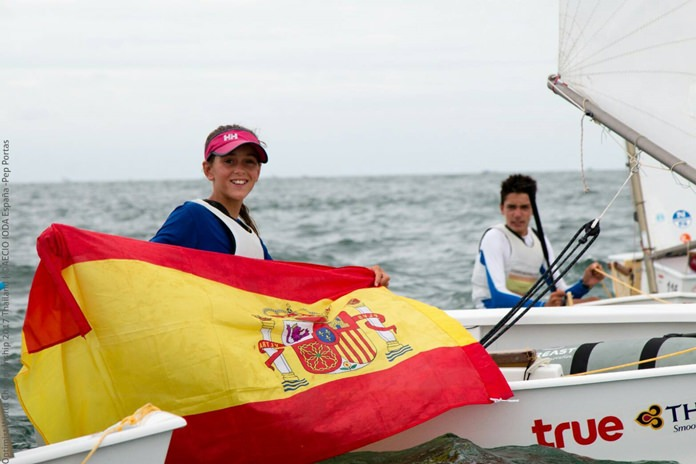 12-year old Maria Perello of Spain (left) took gold in the top female category.