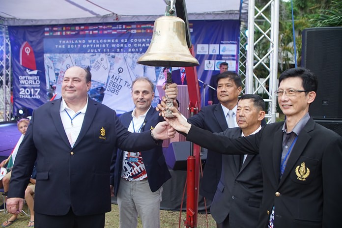 (From left): Thomas Whitcraft, President of the Optimist World Championship 2017; Mark Hamill-Stewart, President of Royal Varuna Yacht Club; Vadm.Thanee Phudpad, Committee and Secretary of the Yacht Racing Association of Thailand Under Royal Patronage Rear; Pol Maj-General Anan Charoenchasri, Mayor of Pattaya City and Nattavut Ruangves, Deputy Governor of the Sports Authority of Thailand ring the bell to officially open the Optimist World Championship 2017 at Royal Varuna Yacht Club, Wednesday, July 12.