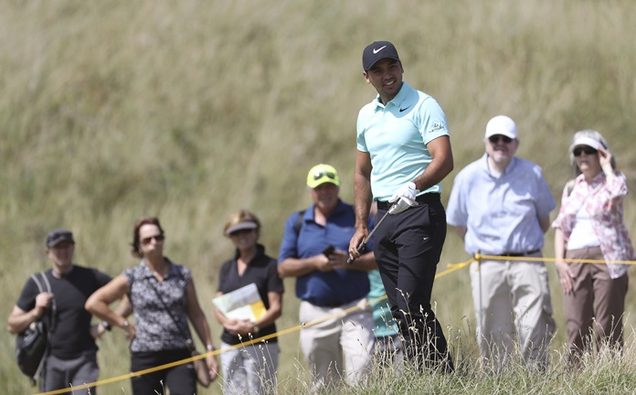 Australia's Jason Day prepares to play a shot on the 3rd hole during a practice round ahead of the British Open Golf Championship, at Royal Birkdale, Southport, England Tuesday, July 18. (AP Photo/Peter Morrison)