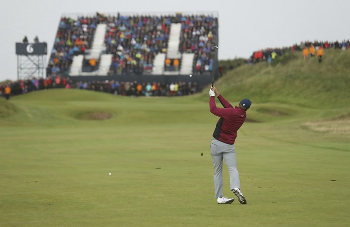 Jordan Spieth of the United States plays a shot on the 6th hole during the second round of the British Open Golf Championship, at Royal Birkdale, Southport, England, Friday July 21. (AP Photo/Peter Morrison)