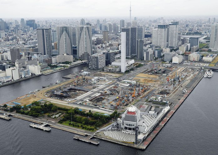 In this July 23, 2017 photo, the Olympic village is seen under construction in Tokyo. (Yohei Kanasashi/Kyodo News via AP)