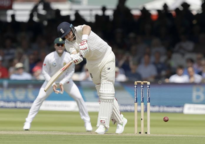 England captain Joe Root hits a shot during the first test between England and South Africa at Lord's cricket ground in London, Thursday, July 6. (AP Photo/Matt Dunham)
