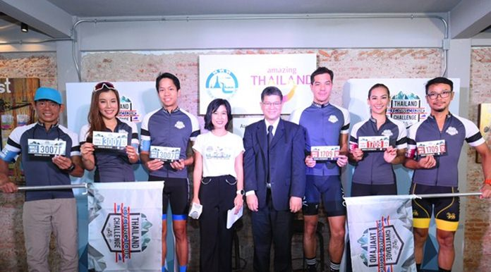 Mr. Chattan Kunjara Na Ayudhya (4th from right), TAT Deputy Governor for Marketing Communications and celebrity cyclists at the press conference to announce the staging of the Thailand Cycling Tour Challenge