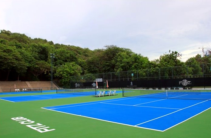 The pristine tennis courts at the Fitz Club- Racquets, Health and Fitness of the Royal Cliff Hotels Group.