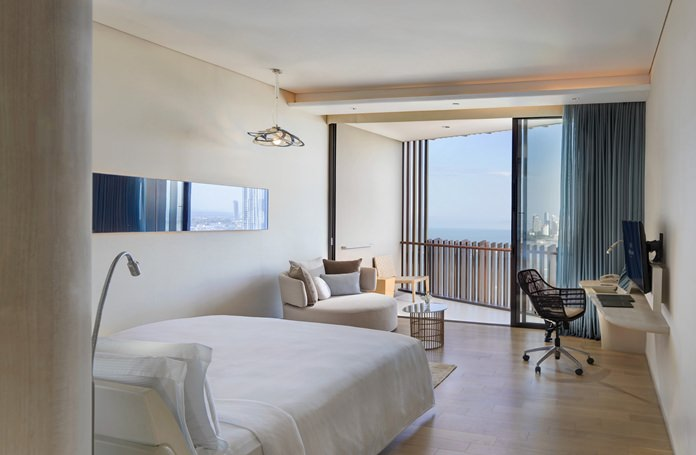 All guestrooms feature a sea view from their private balcony.