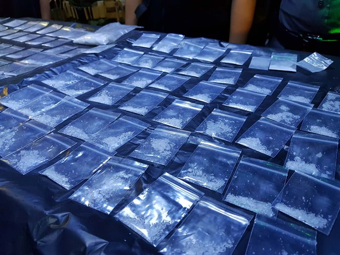 Authorities recovered from the floor and employee lockers 108 bags of crystal methamphetamine and 18 bags of ketamine.