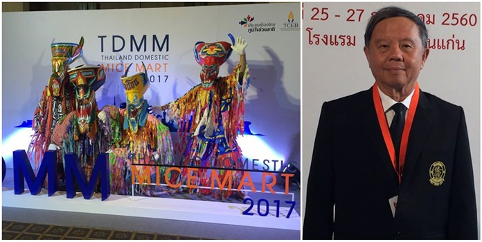 During the Thailand Domestic MICE Mart in Khon Kaen, Pattaya Deputy Mayor Bandit Khunajak (inset) touted Pattaya as a place for Thai companies to hold business meetings and conventions.