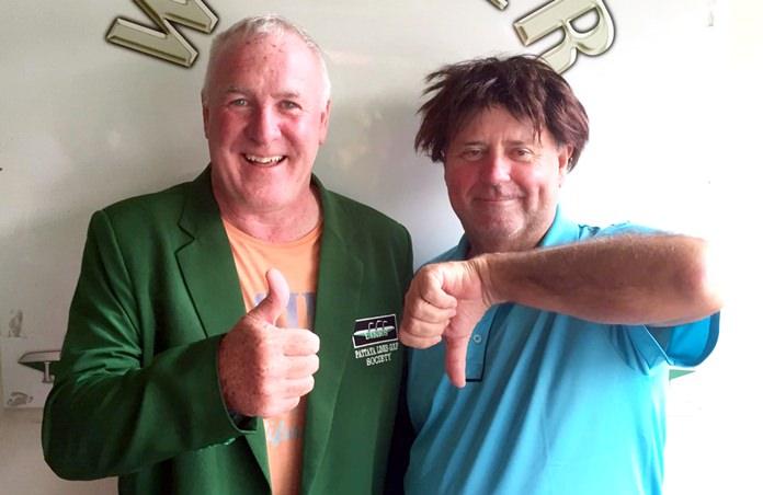 Pat Lavin (left) with Bob Watson.