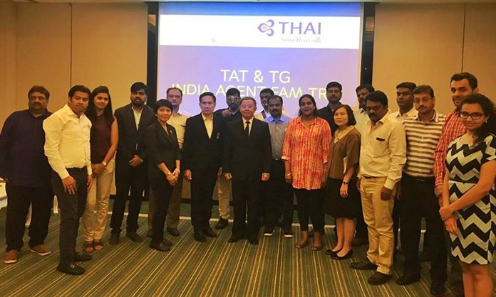 Deputy Mayor Bandit Khunajak (front, center) welcomes Indian tour operators to the TAT & TG West and South India tabletop sales event at the Avani Resort and Spa.
