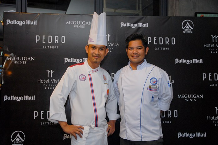 Hotel Vista's Executive Sous Chef Adisak Anupaipruek with Patiphan Detsupa, Executive Chef from Siamese Hotel.
