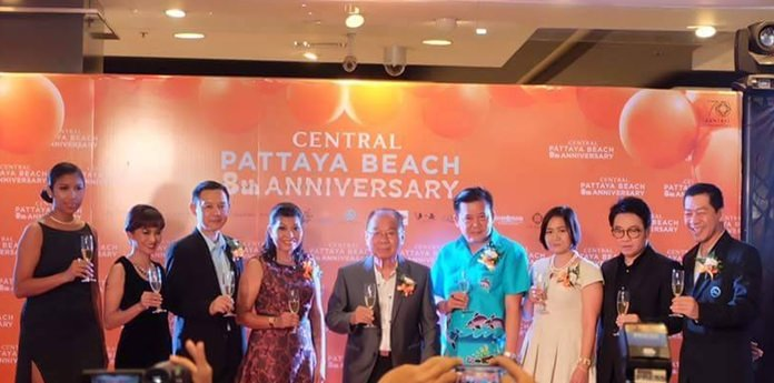 Local store and government officials gather to celebrate Central Festival Pattaya Beach's eight years in Pattaya.