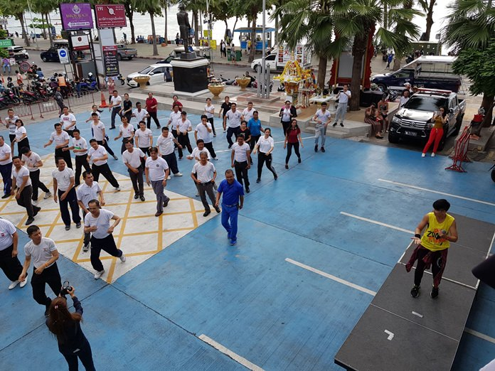 Pattaya's police chief is pushing his officers to get in better shape, starting a weekly exercise class that had them doing Zumba the first week.