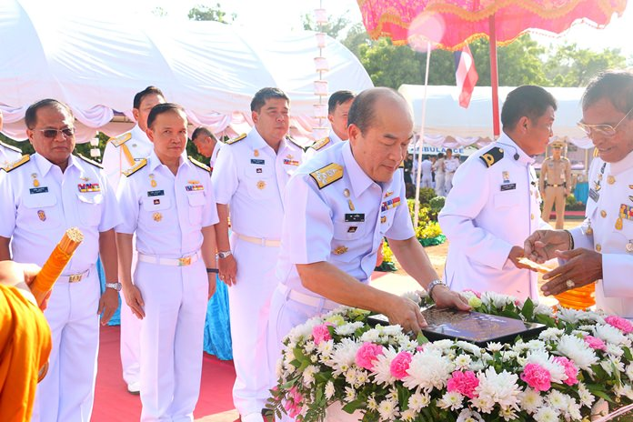 Navy commander-in-chief Adm. Na Areenij laid the cornerstone of the Naval Life Support Center at an Aug. 2 ceremony on Nang Rong Beach.