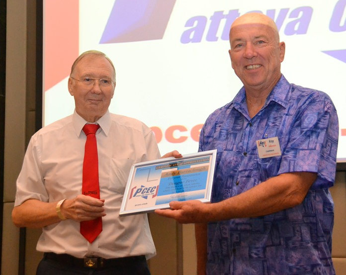 MC Roy Albiston presents Andy Barraclough with the PCEC's Certificate of Appreciation for his very informative and interesting talk about Dengue Fever; something everyone should know about if they live in Thailand.